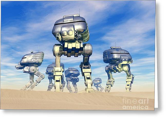 Robot Army Greeting Card by Victor Habbick Visions and Photo Researchers