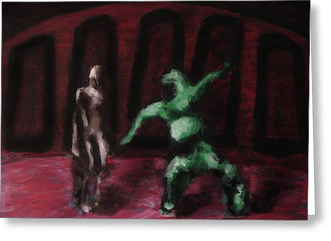 Greeting Card featuring the painting Robot Chewbacca Fight Colosseum In Red Green And Pink by M Zimmerman