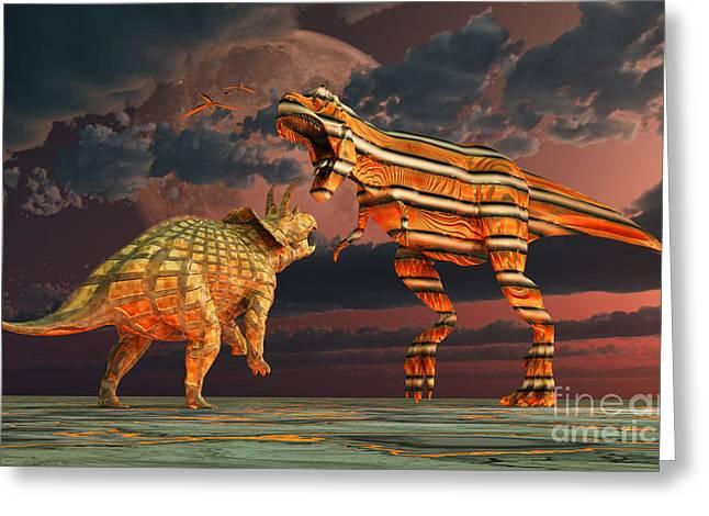 Robotic T. Rex & Triceratops Battle Greeting Card by Mark Stevenson