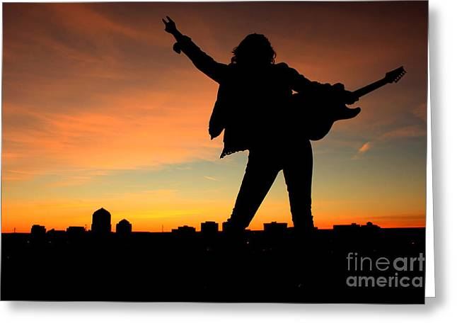 Rock And Roll Sunset Greeting Card by Val Armstrong