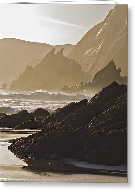 Rock And Waves Dingle Peninsular Greeting Card by Julian Easten