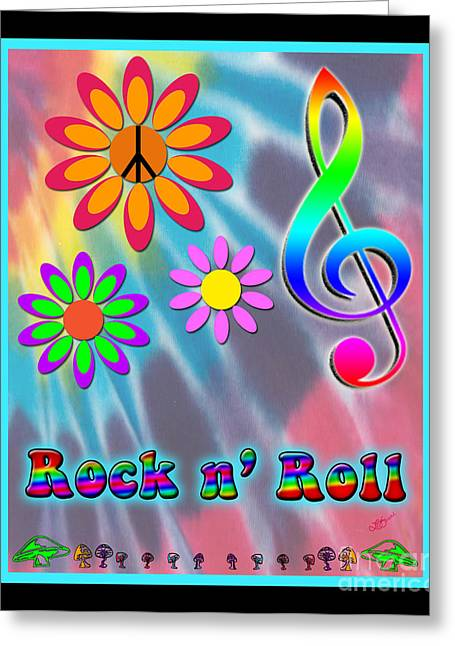 Rock Music Poster Greeting Card by Linda Seacord