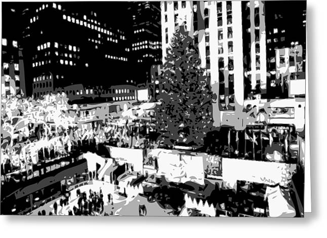 Rockefeller Tree Bw8 Greeting Card by Scott Kelley