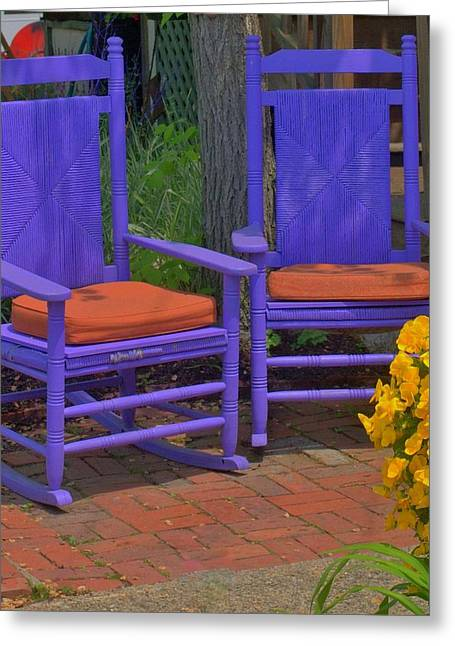 Greeting Card featuring the photograph Rocking Chairs Of Gloucester by Caroline Stella