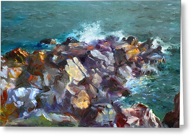 Rocks Against The Ocean  Greeting Card by Ylli Haruni