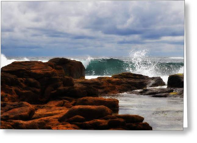 Rocks And Surf Greeting Card by Phill Petrovic