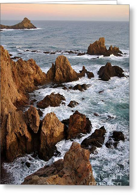 Rocks At Sea In Cabo De Gato  Almeria Spain Greeting Card by Perry Van Munster