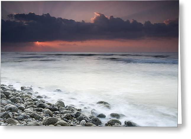 Rocky Beach At Sunrise Hawf Protected Greeting Card by Sebastian Kennerknecht