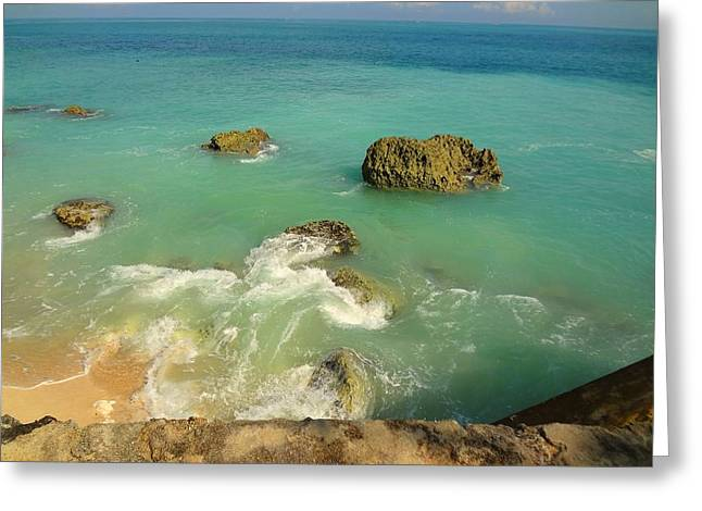 Rocky Blue Ocean Greeting Card