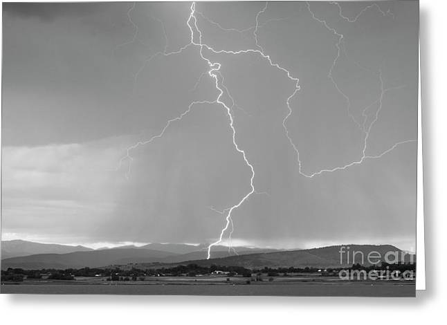 Rocky Mountain Front Range Foothills Lightning Strikes 1 Bw Greeting Card by James BO  Insogna