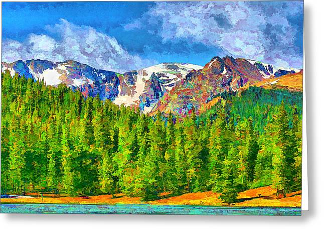 Greeting Card featuring the digital art Rocky Mountain High by Brian Davis