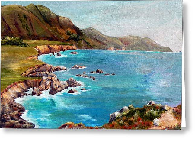 Greeting Card featuring the painting Rocky Point At Big Sur by Terry Taylor
