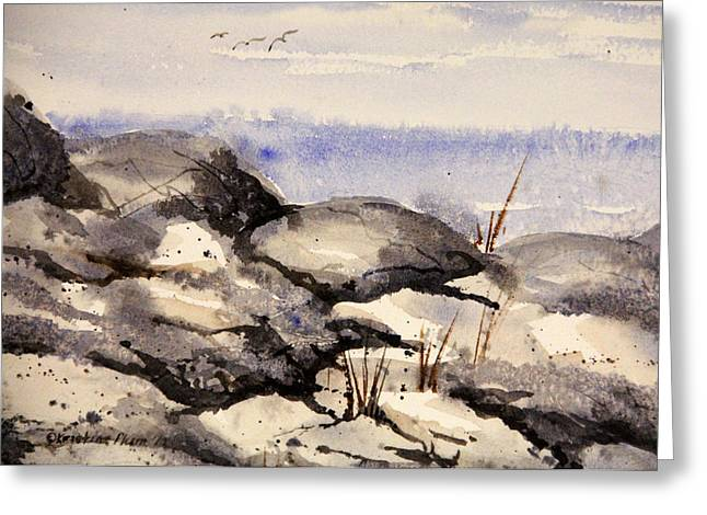 Rocky Shore Greeting Card by Kristine Plum
