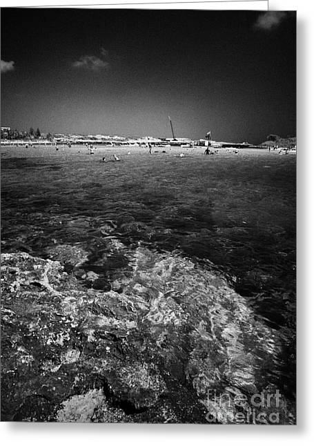 Rocky Shoreline At Nissi Beach Ayia Napa Republic Of Cyprus Europe Greeting Card