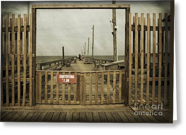 Rodanthe Fishing Pier Sightseeing Sign Greeting Card by Anne Kitzman