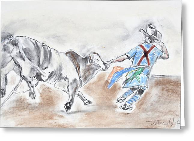 Rodeo Bullfighter Greeting Card