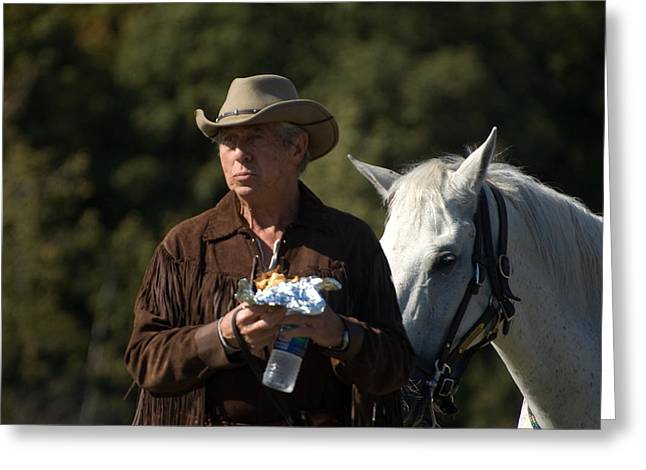 Rodeo Doc And His Horse Greeting Card by Cheryl Cencich