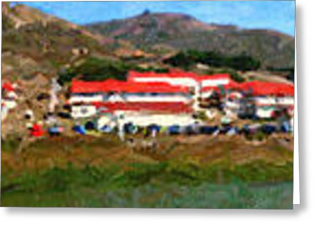 Rodeo Lagoon In The Marin Headlands California . Panorama . Painterly Style Greeting Card by Wingsdomain Art and Photography