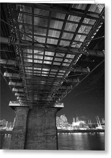 Roebeling Bridge Black And White Greeting Card