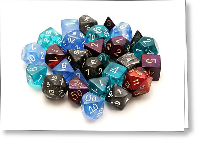 Role-playing Dices Greeting Card by Fabrizio Troiani