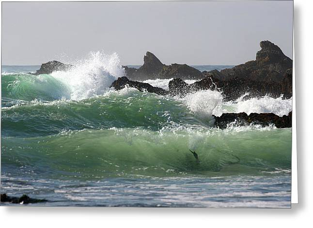 Greeting Card featuring the photograph Rolling Green Waves by Michael Rock