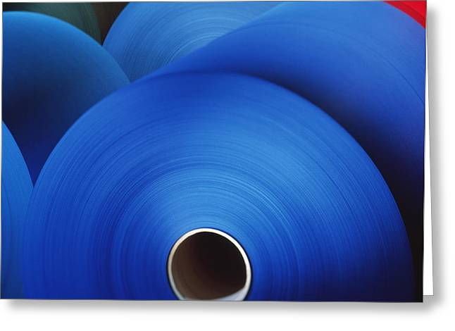 Rolls Of Coloured Paper At A Paper Mill Greeting Card by Colin Cuthbert