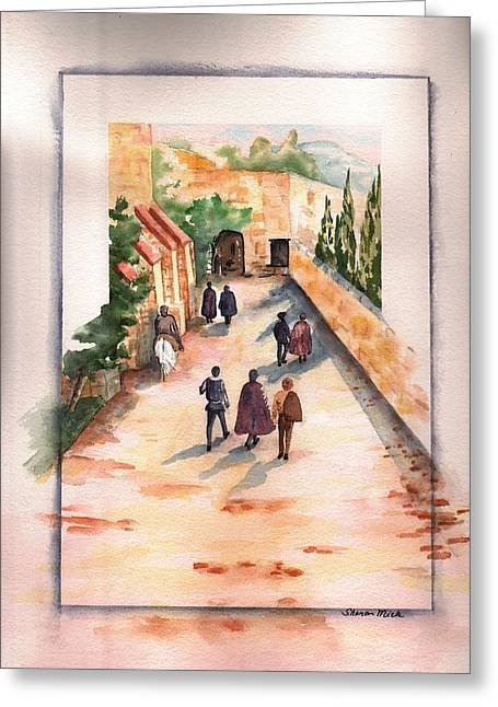 Greeting Card featuring the painting Roman Avenue by Sharon Mick