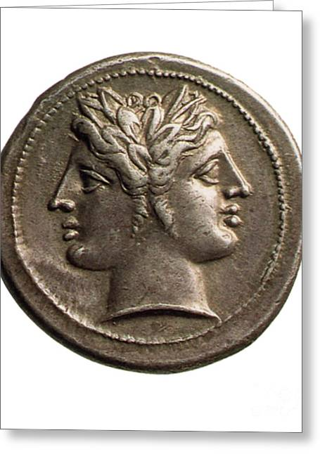 Roman Coin Featuring Janus Greeting Card by Photo Researchers