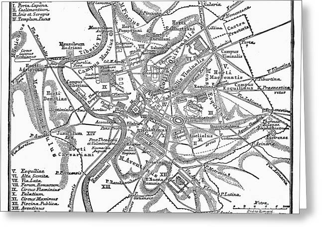 Roman Empire: Map Of Rome Greeting Card by Granger