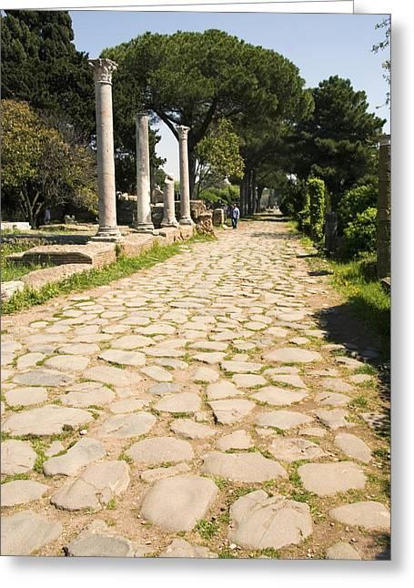 Roman Road, Ostia Antica Greeting Card by Sheila Terry