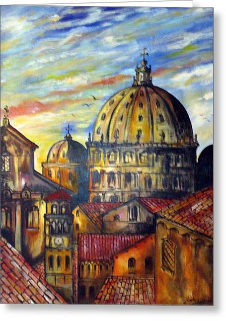 Greeting Card featuring the painting Roman Roofs by Roberto Gagliardi