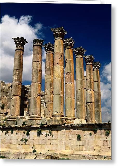 Roman Ruins At Jerash, Jordan Greeting Card by Richard Nowitz