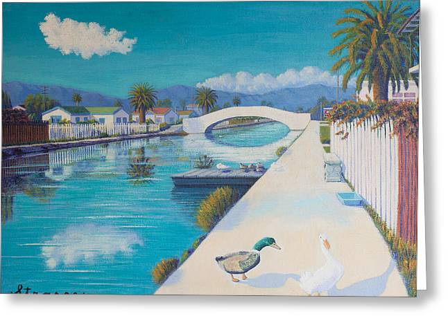 Romance On Retro Canal Greeting Card by Frank Strasser