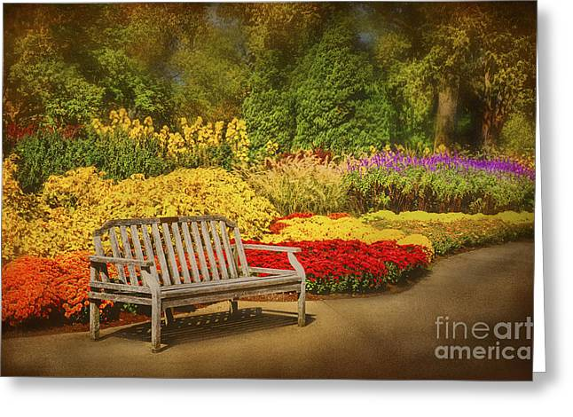 Romantic Flower Garden  Greeting Card by Cheryl Davis