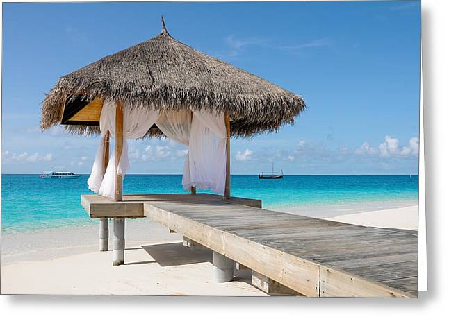 Romantic Hut With Light Ocean Breeze. Maldives  Greeting Card by Jenny Rainbow