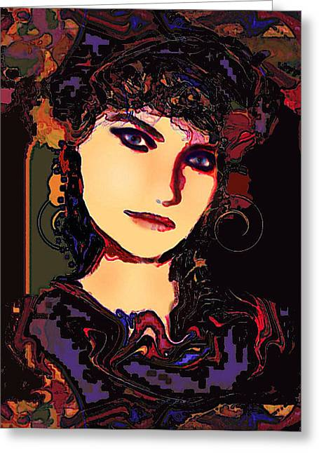 Romantic Lady Greeting Card by Natalie Holland