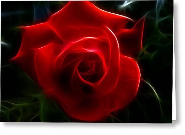 Romantic Red Rose Greeting Card by Cindy Wright