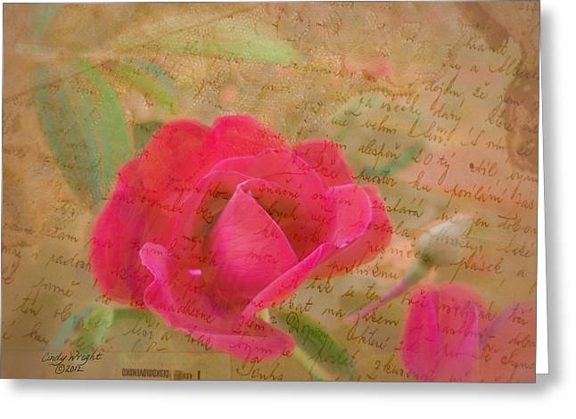 Romantic Rose Notes Greeting Card by Cindy Wright