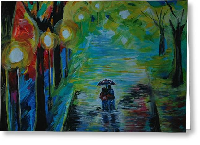Greeting Card featuring the painting Romantic Stroll Series 1 by Leslie Allen