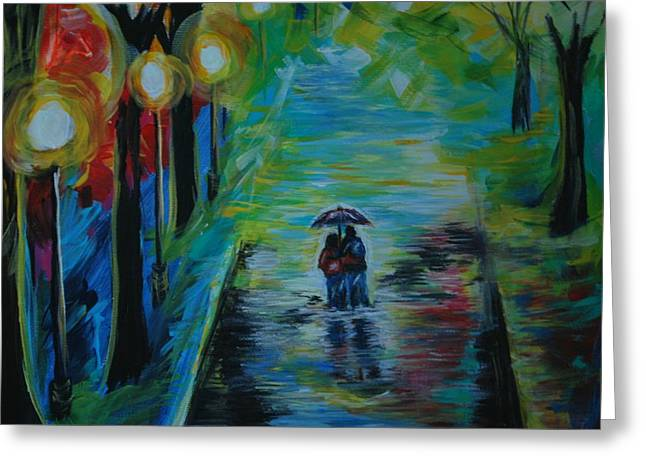 Greeting Card featuring the painting Romantic Stroll Series II by Leslie Allen