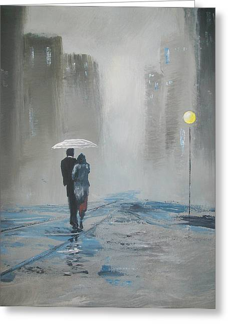Romantic Walk In The Rain Greeting Card