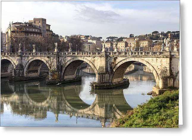 Rome - Ponte Sant'angelo Greeting Card by Joana Kruse
