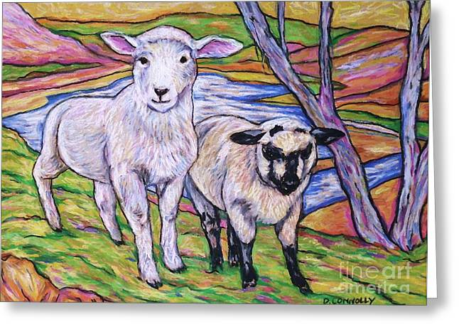 Farming Pastels Greeting Cards - Romney Lamb And Suffolk Lamb Greeting Card by Dianne  Connolly