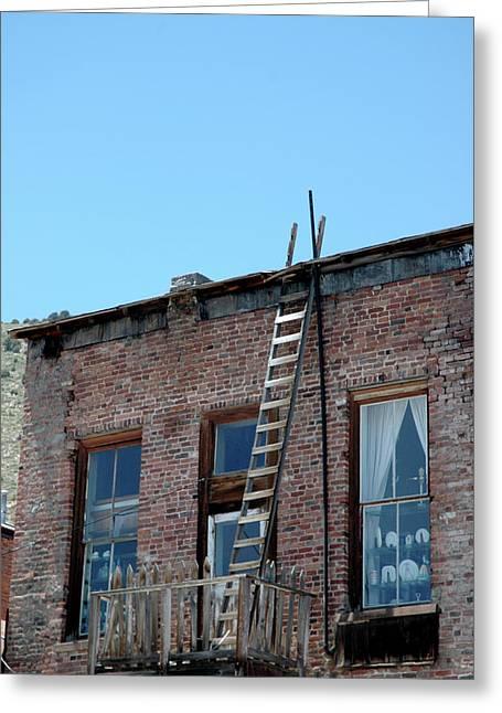 Roof Escape The Heat Virginia City Nevada Greeting Card by LeeAnn McLaneGoetz McLaneGoetzStudioLLCcom