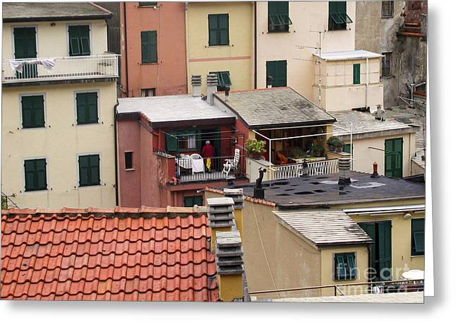 Greeting Card featuring the photograph Roof Top Dining by Leslie Hunziker