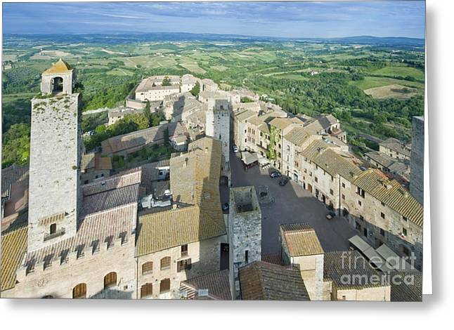 Rooftops Of San Gimignano Greeting Card by Rob Tilley