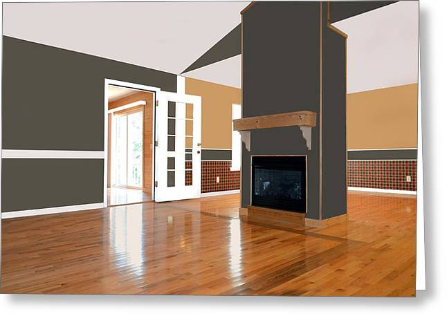 Room With Fireplace Greeting Card by Susan Leggett