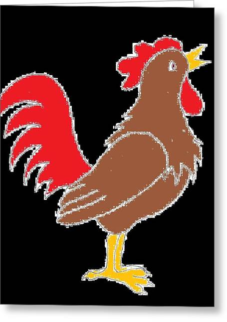 Rooster - Black Background Greeting Card
