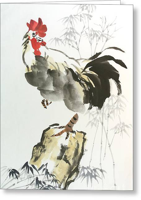Rooster Greeting Card by Yolanda Koh