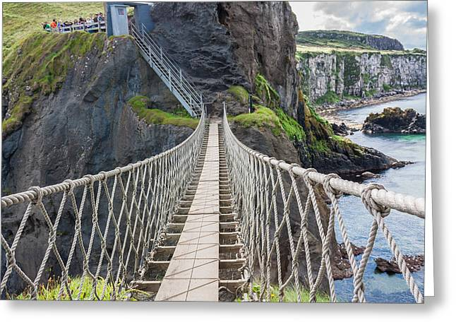 Rope Bridge At Carrick-a-rede In Northern Island Greeting Card